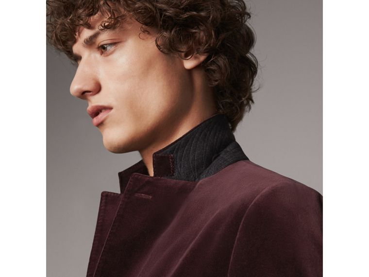 Soho Fit Velvet Tailored Jacket in Blackcurrant - Men | Burberry United Kingdom - cell image 1