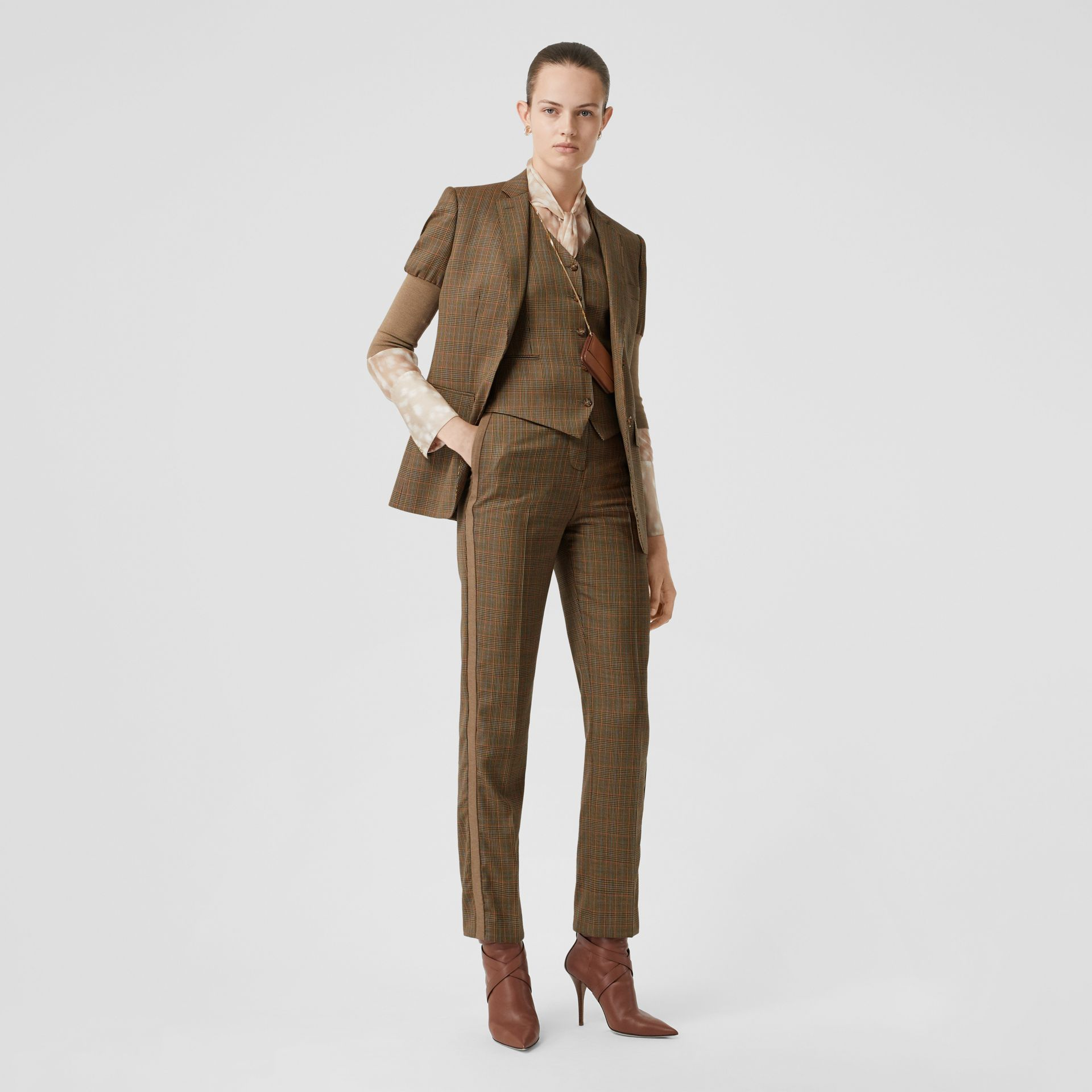 Side Stripe Houndstooth Check Wool Tailored Trousers in Fawn - Women | Burberry Hong Kong S.A.R - gallery image 0