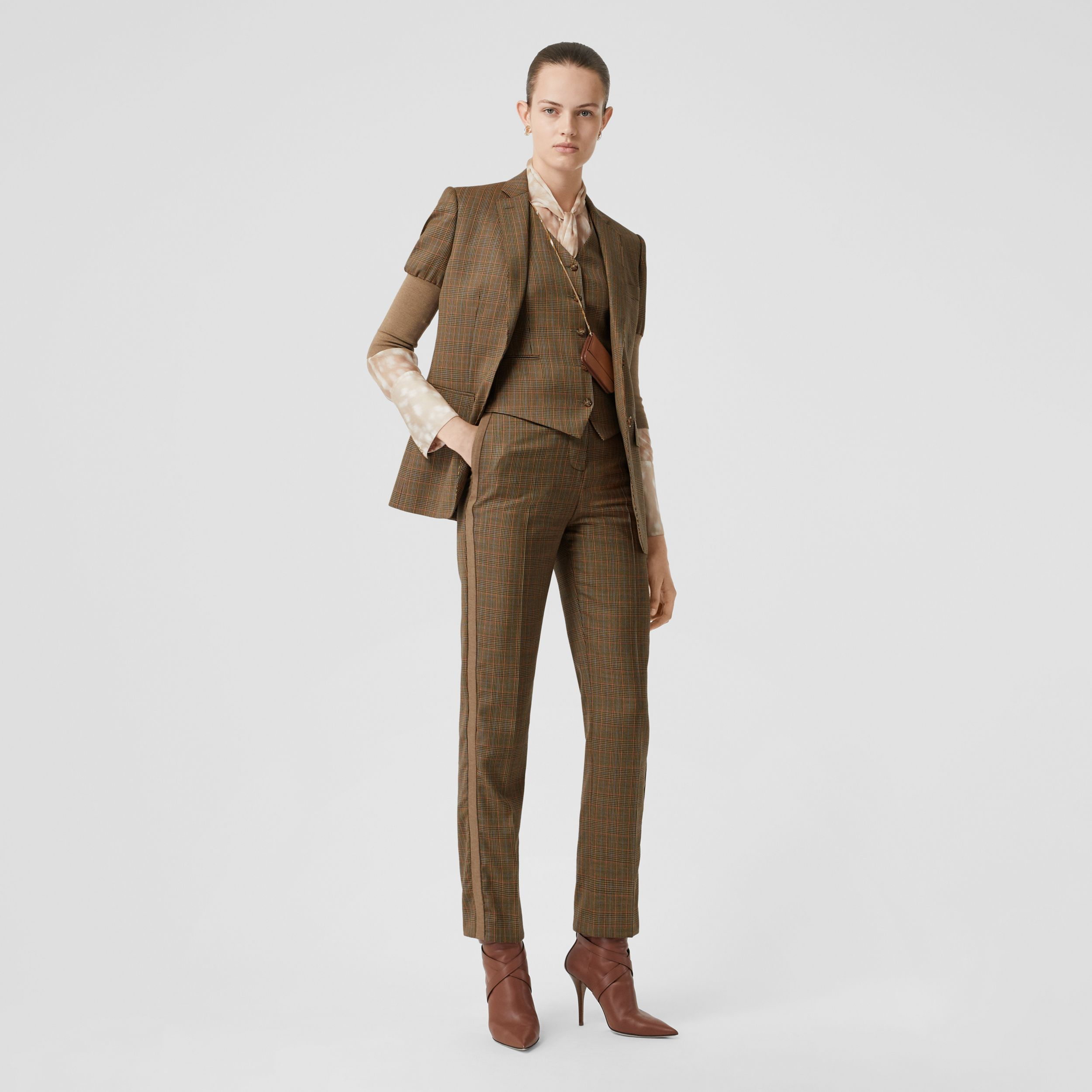 Side Stripe Houndstooth Check Wool Tailored Trousers in Fawn - Women | Burberry - 1