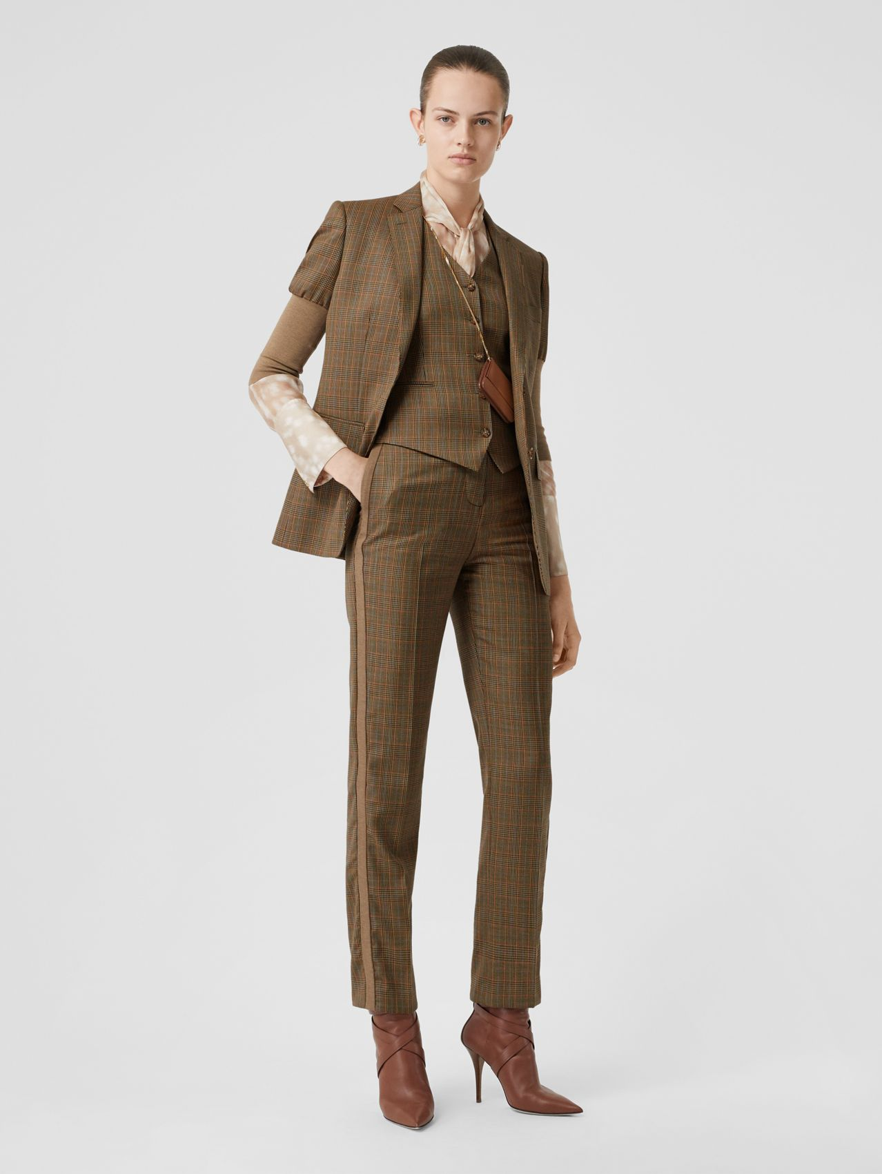 Side Stripe Houndstooth Check Wool Tailored Trousers in Fawn