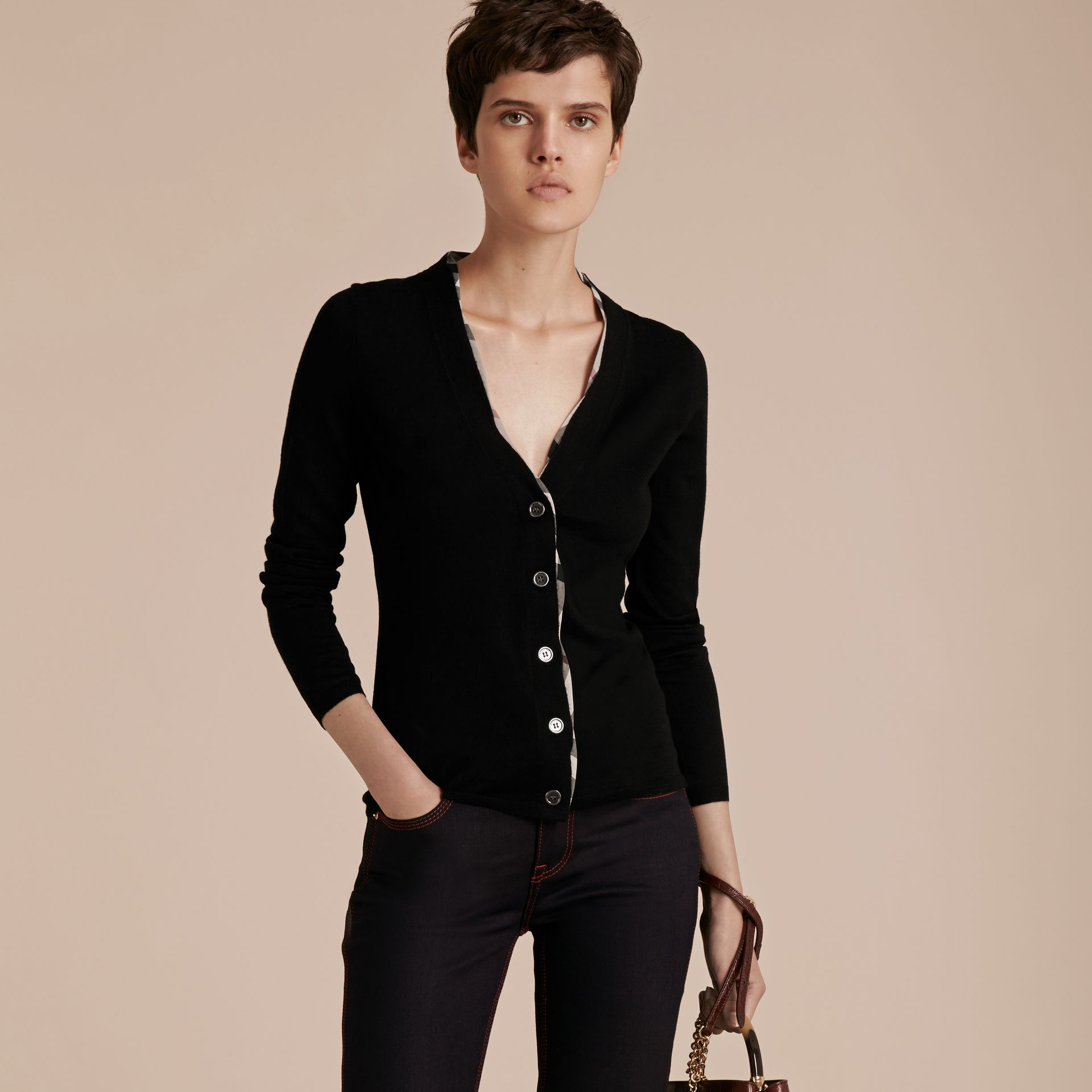 Black Check Placket Wool Cardigan Black - gallery image 6