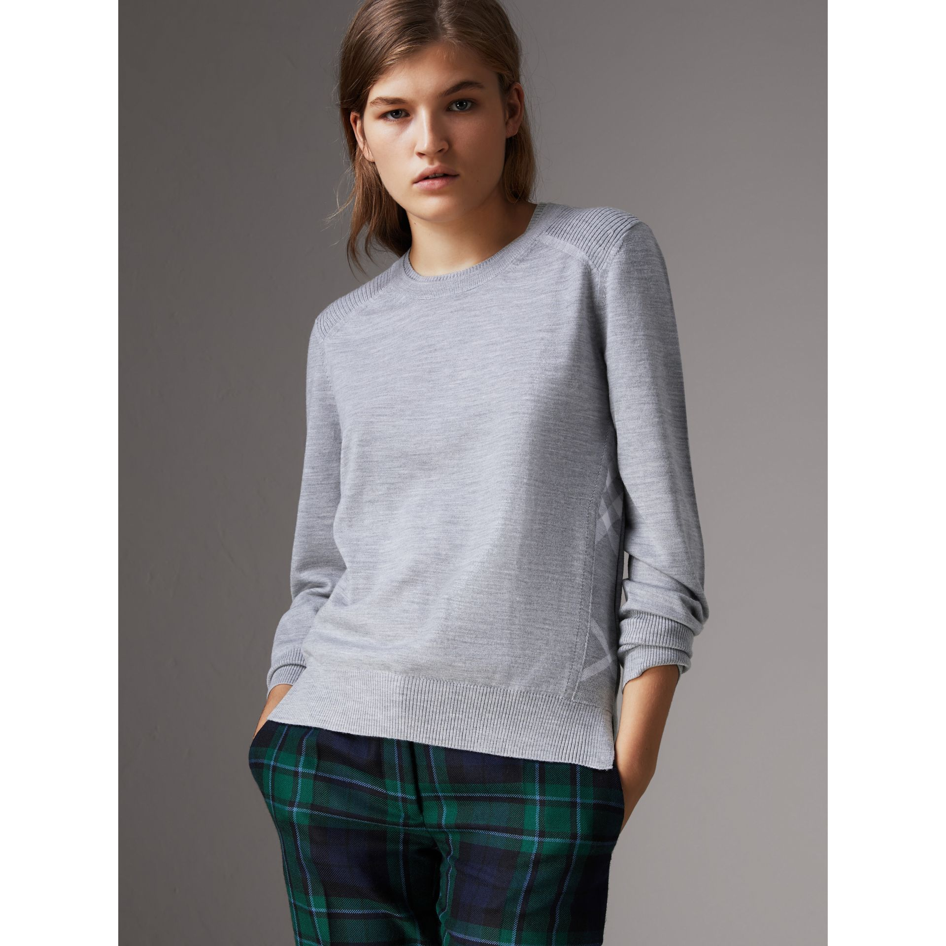 Check Detail Merino Wool Sweater in Mid Grey Melange - Women | Burberry - gallery image 1