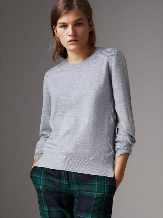 Check Detail Merino Wool Sweater in Mid Grey Melange