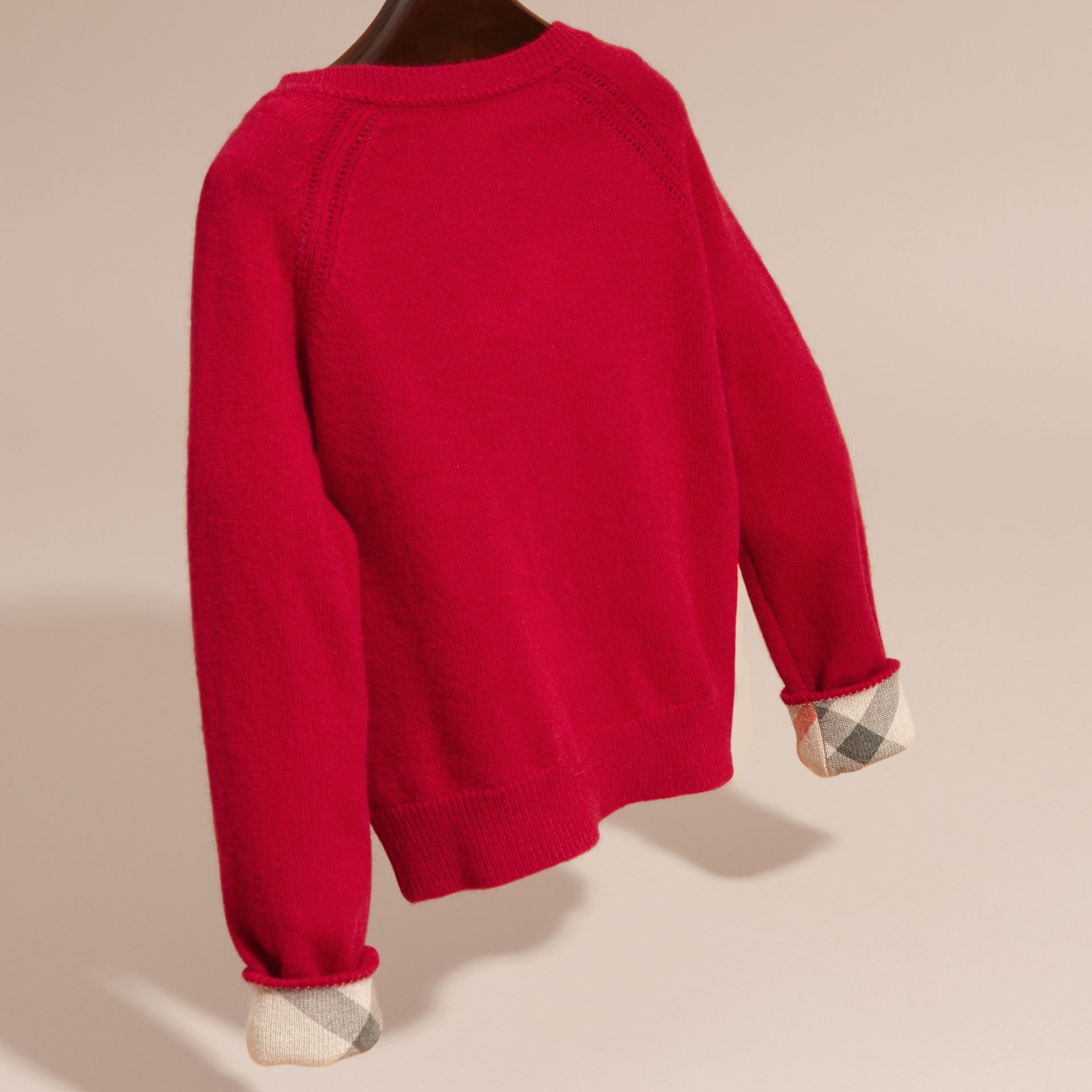 Check Cuff Cashmere Cardigan Parade Red - gallery image 4