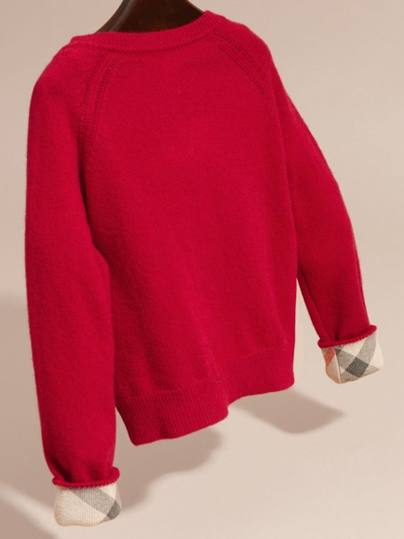Check Cuff Cashmere Cardigan in Parade Red - cell image 3