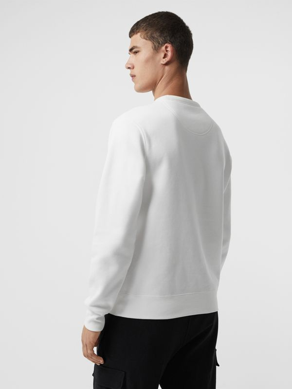 Embroidered Crest Jersey Sweatshirt in White - Men | Burberry Singapore - cell image 2