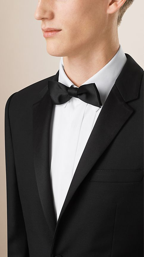 Black Slim Fit Wool Mohair Half-canvas Tuxedo - Image 3