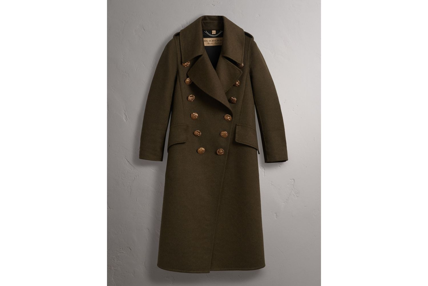 Bird Button Cashmere Wool Military Coat in Dark  Green