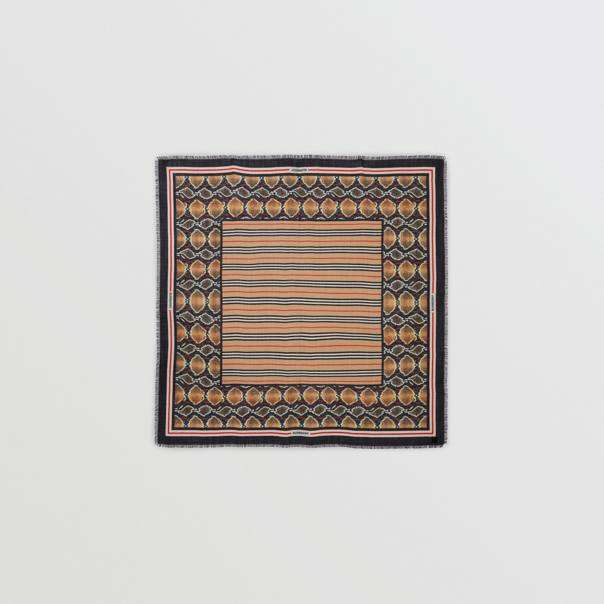 Icon Stripe Wool Silk Large Square Scarf in Archive Beige | Burberry - gallery image 0