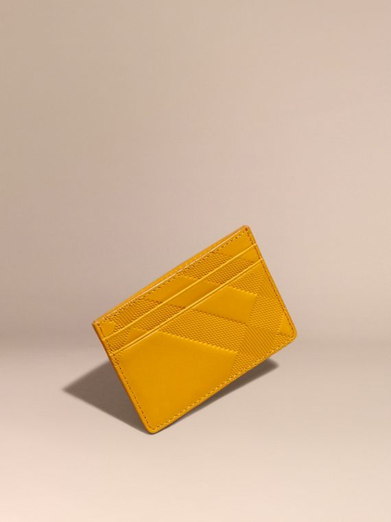 Check Embossed Leather Card Case Amber Yellow