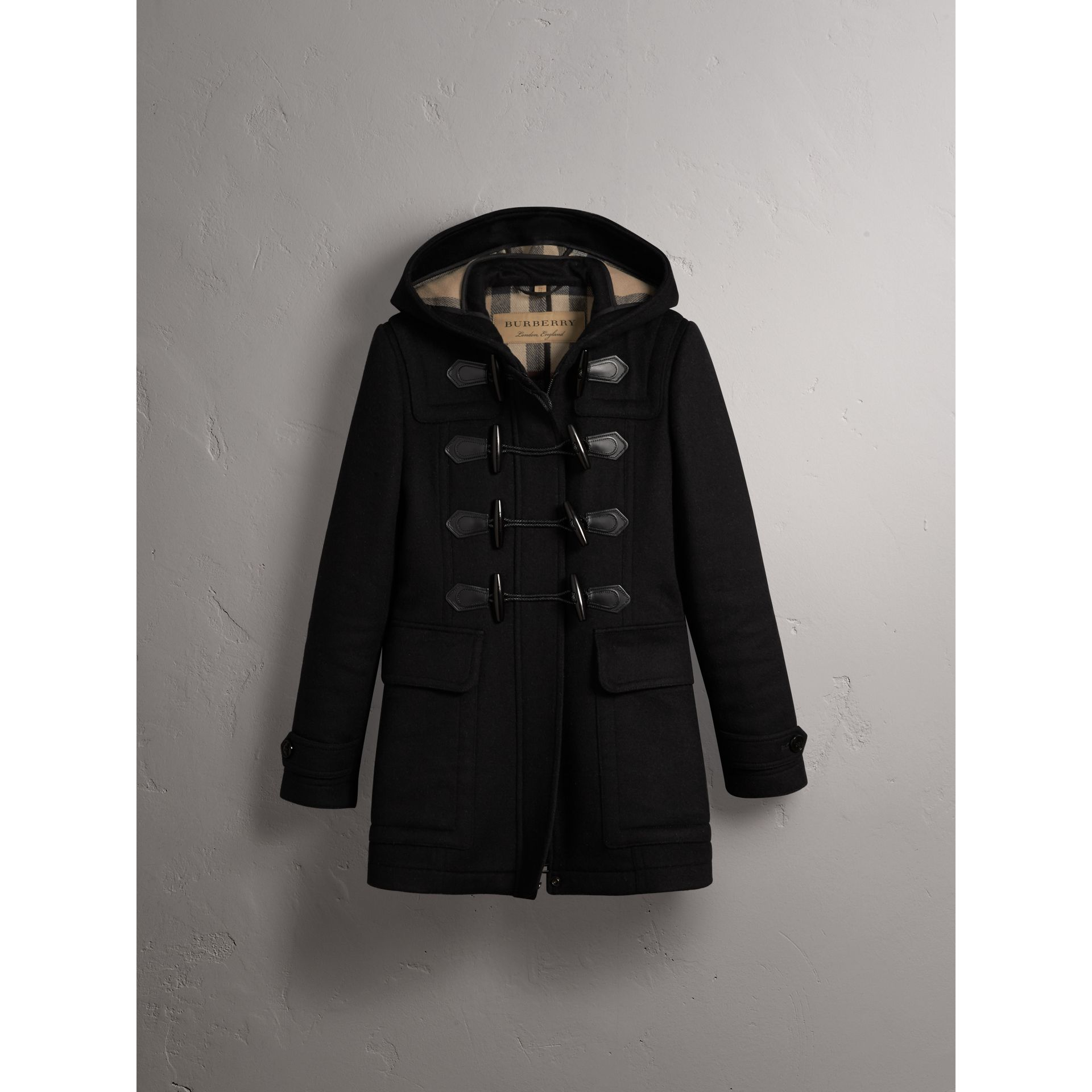 Fitted Wool Duffle Coat in Black - Women | Burberry - gallery image 4