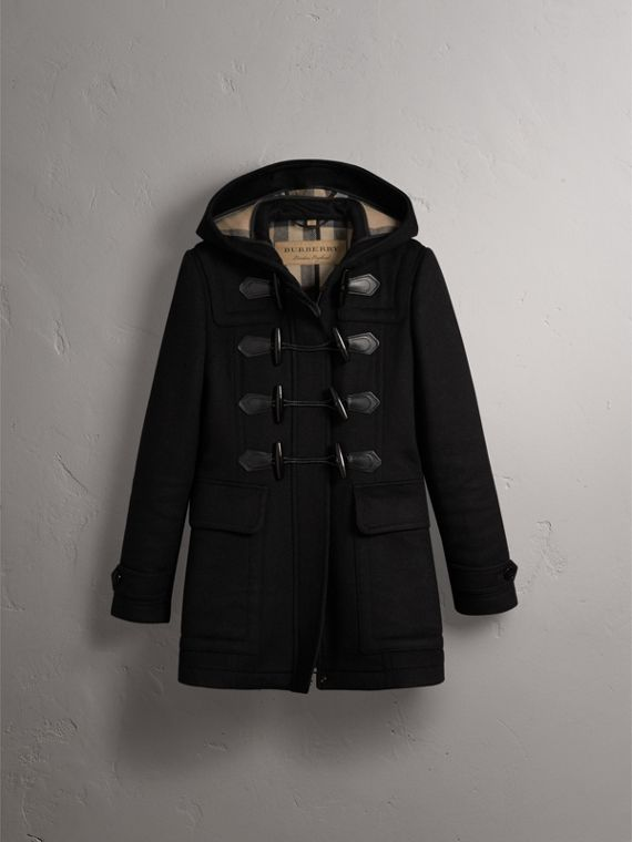 Fitted Wool Duffle Coat in Black - Women | Burberry - cell image 3