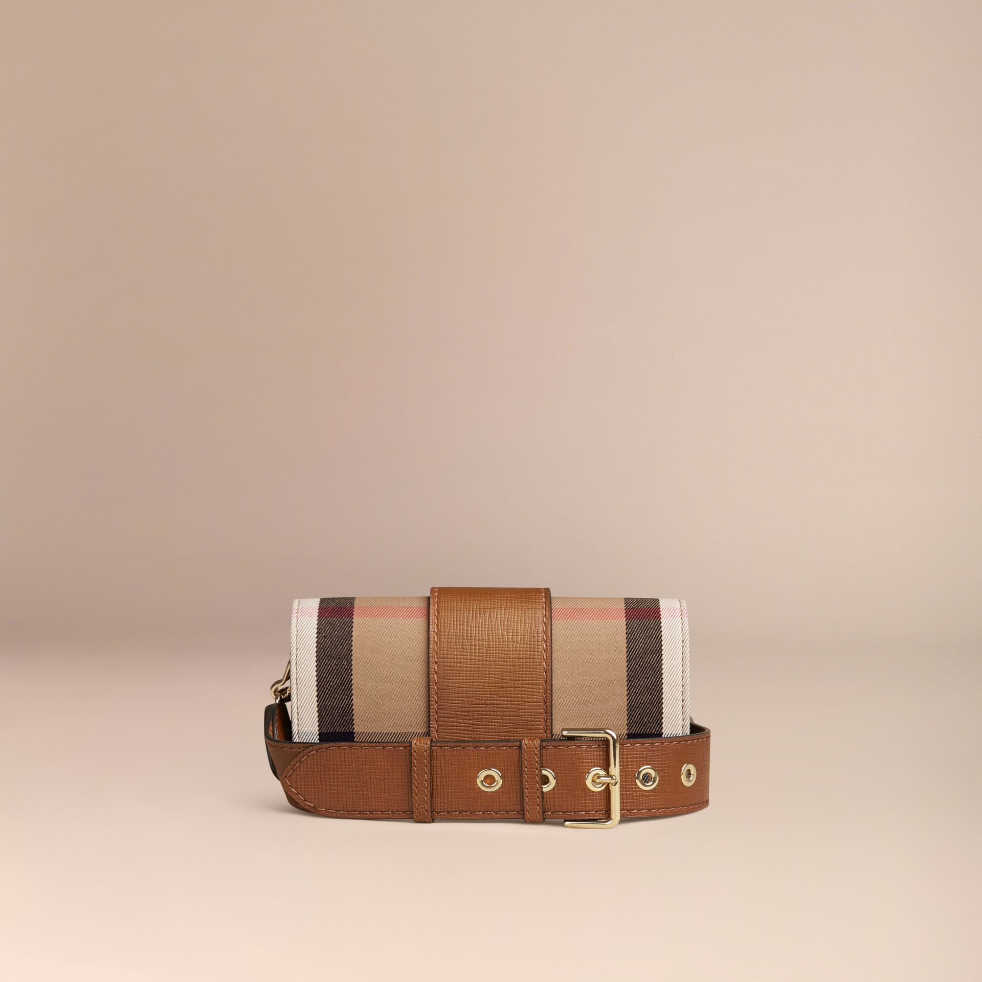 Tan The Small Buckle Bag in House Check and Leather Tan - gallery image 5
