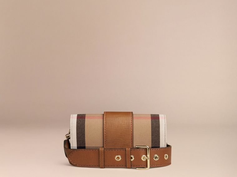 Tan The Small Buckle Bag in House Check and Leather Tan - cell image 4