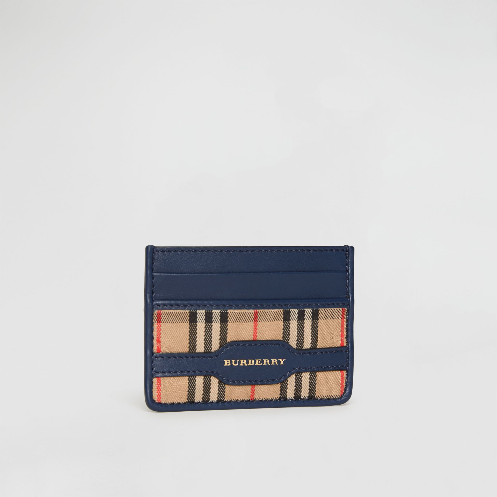 1983 Check and Leather Card Case in Ink Blue | Burberry - gallery image 4