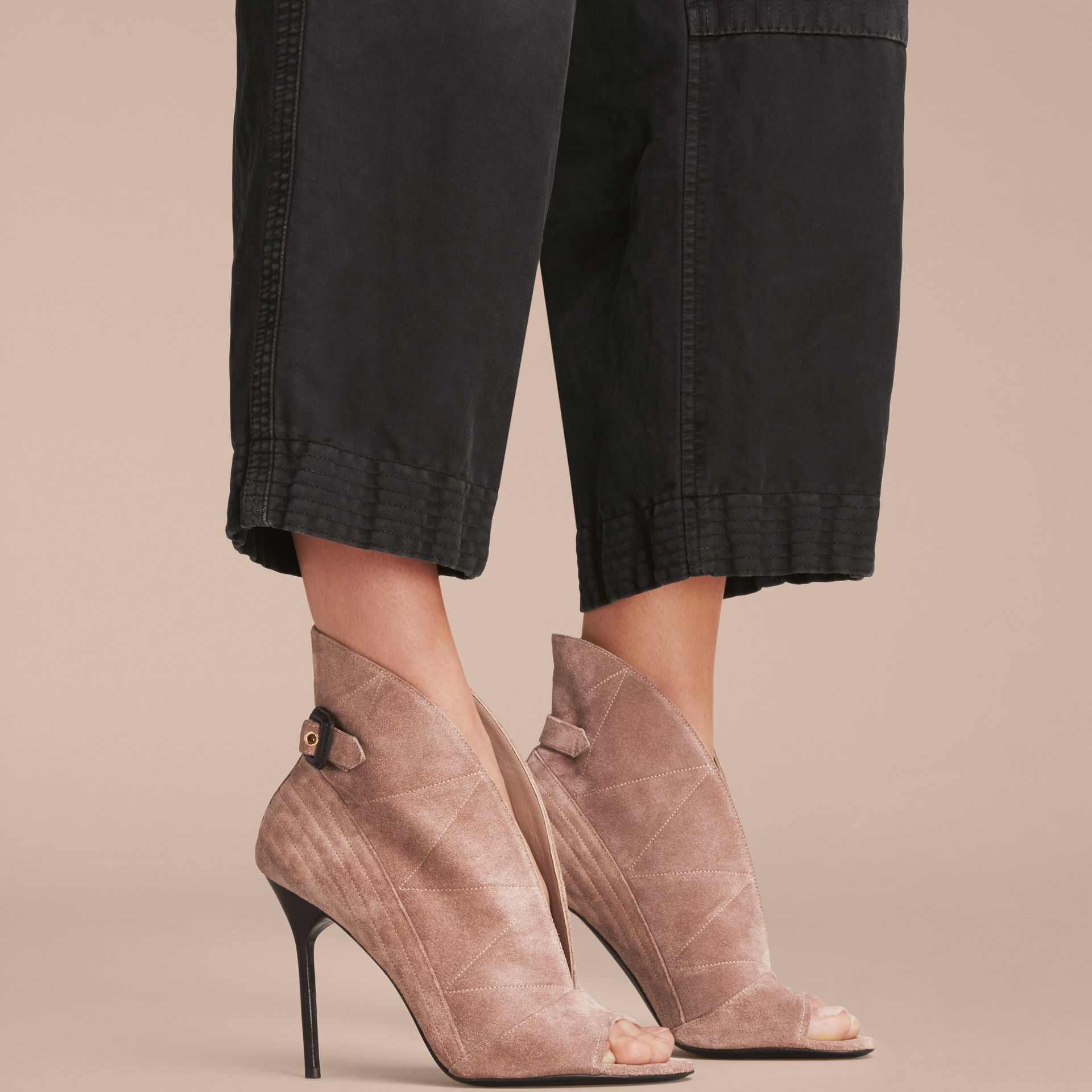 Buckle Detail Suede Peep-toe Ankle Boots in Ivory Pink - Women | Burberry - gallery image 3