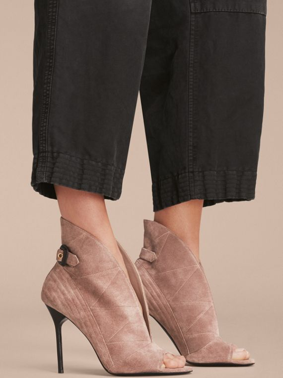 Buckle Detail Suede Peep-toe Ankle Boots in Ivory Pink - Women | Burberry - cell image 2
