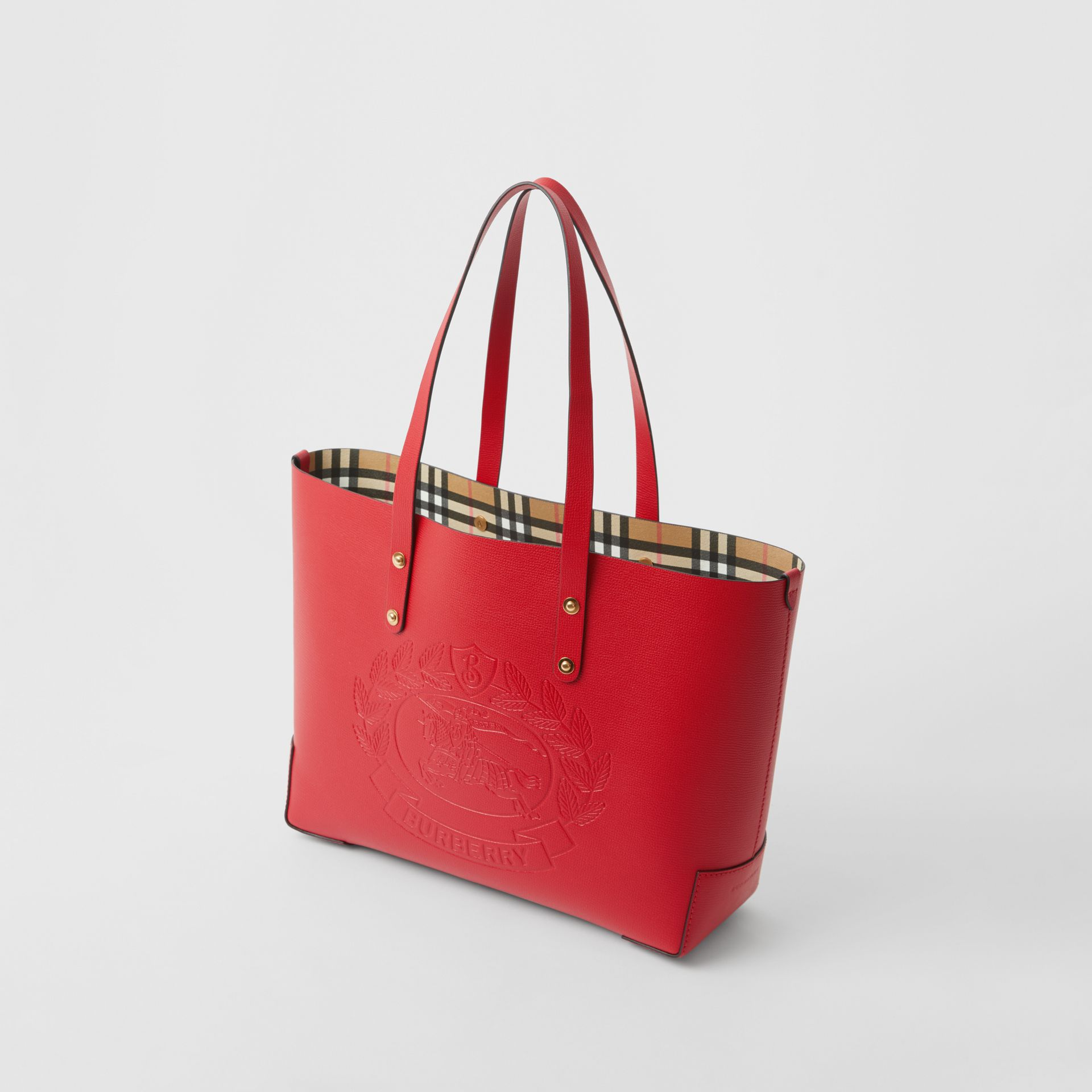 Small Embossed Crest Leather Tote in Rust Red - Women | Burberry - gallery image 4