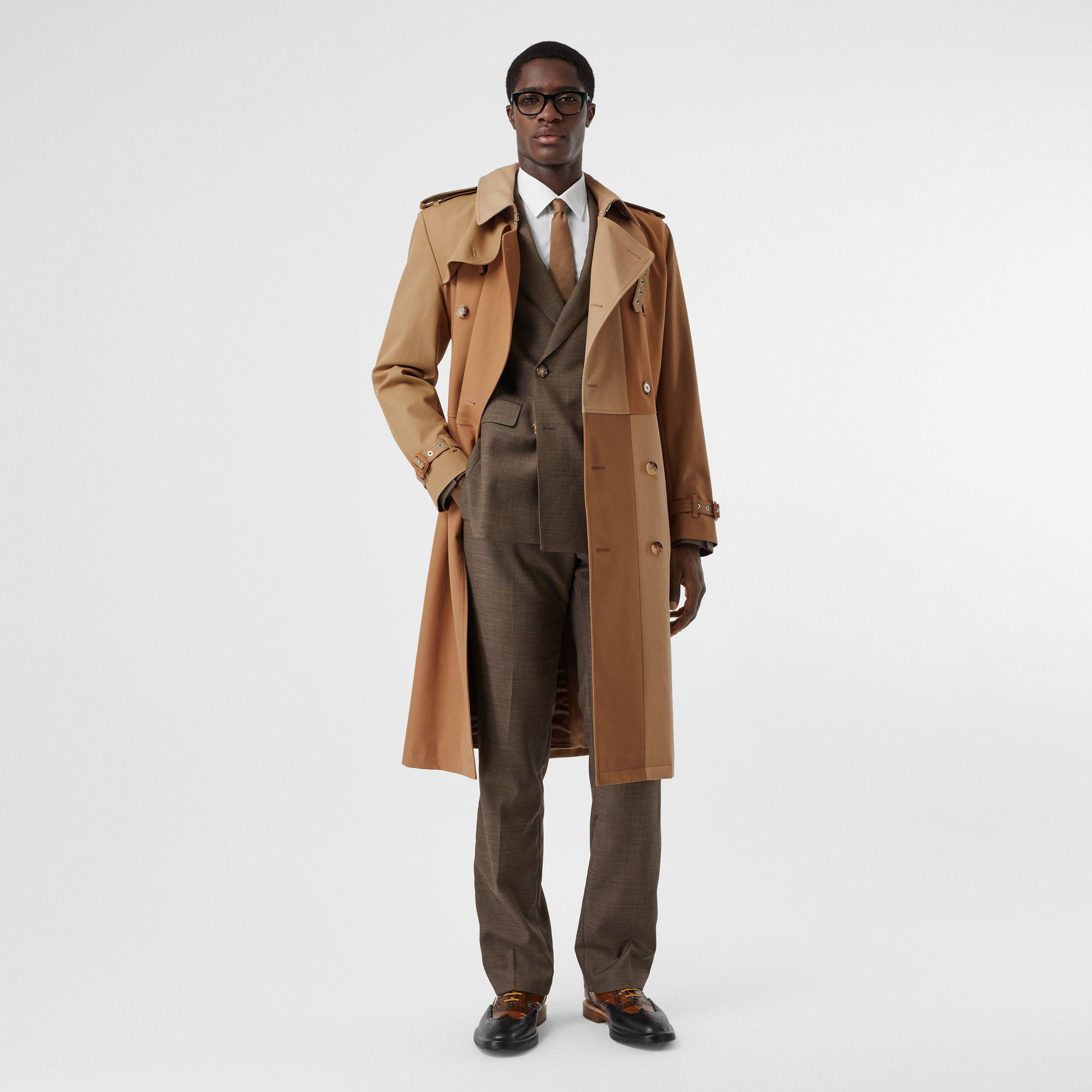 Panelled Cotton Trench Coat in Warm Camel - Men | Burberry - 1