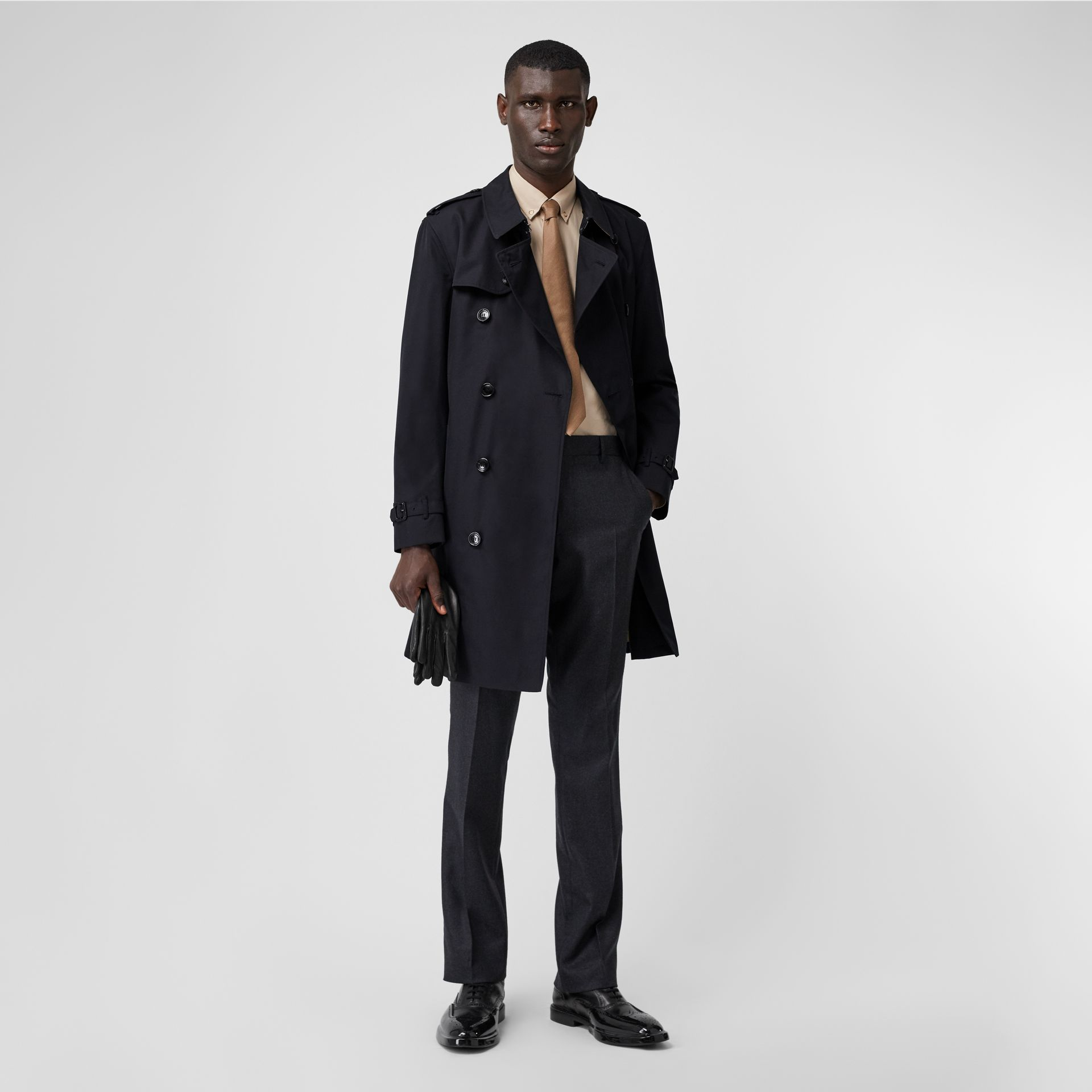 Cotton Gabardine Trench Coat in Midnight - Men | Burberry - gallery image 0