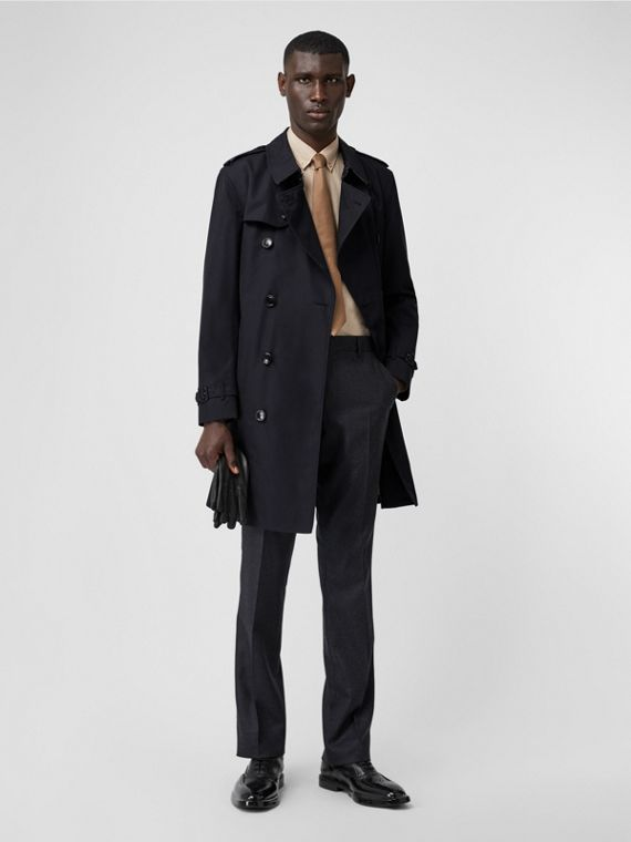 Cotton Gabardine Trench Coat in Midnight
