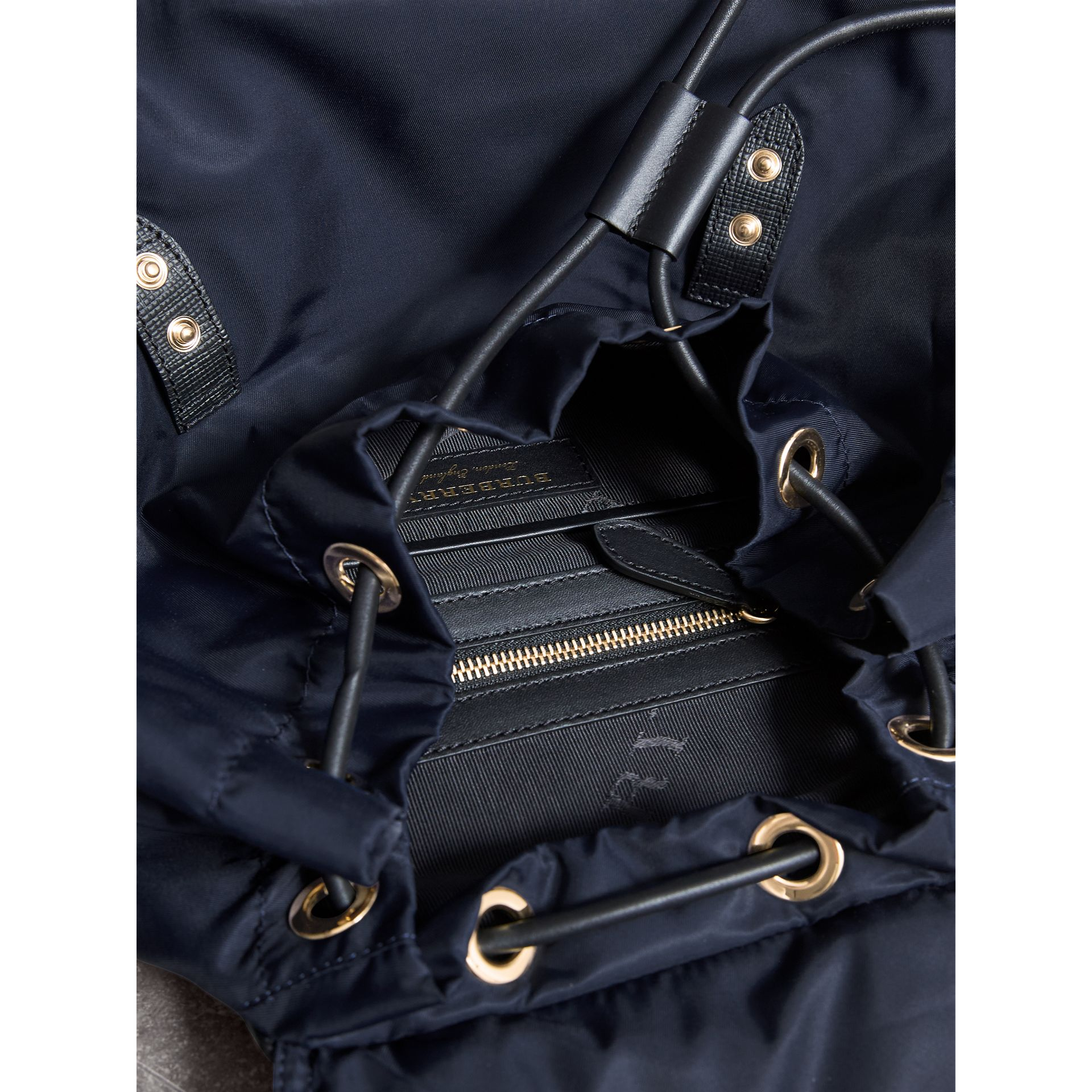The Large Rucksack in Technical Nylon and Leather in Ink Blue - Women | Burberry United States - gallery image 5