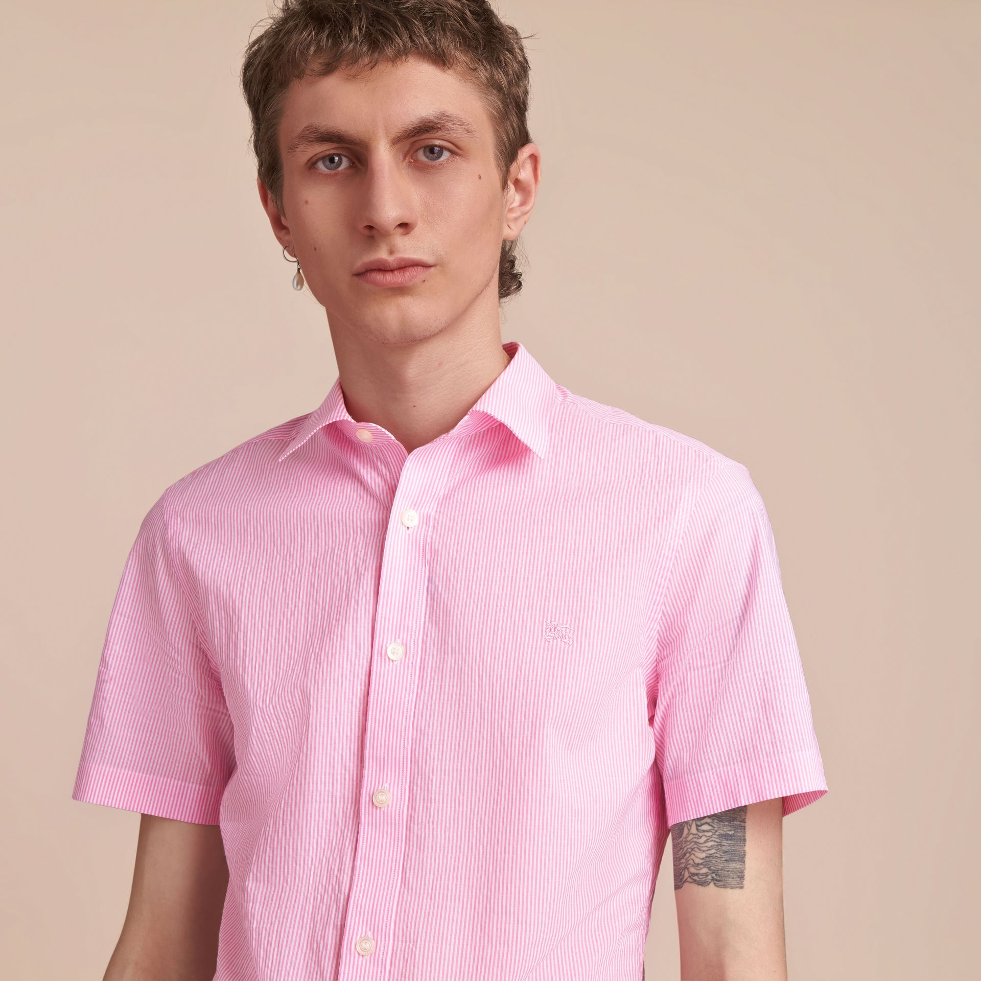 Short-sleeve Striped Cotton Seersucker Shirt in Pale Pink - Men | Burberry - gallery image 5