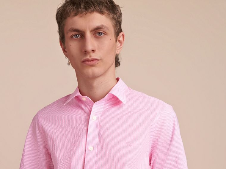 Short-sleeve Striped Cotton Seersucker Shirt in Pale Pink - Men | Burberry - cell image 4