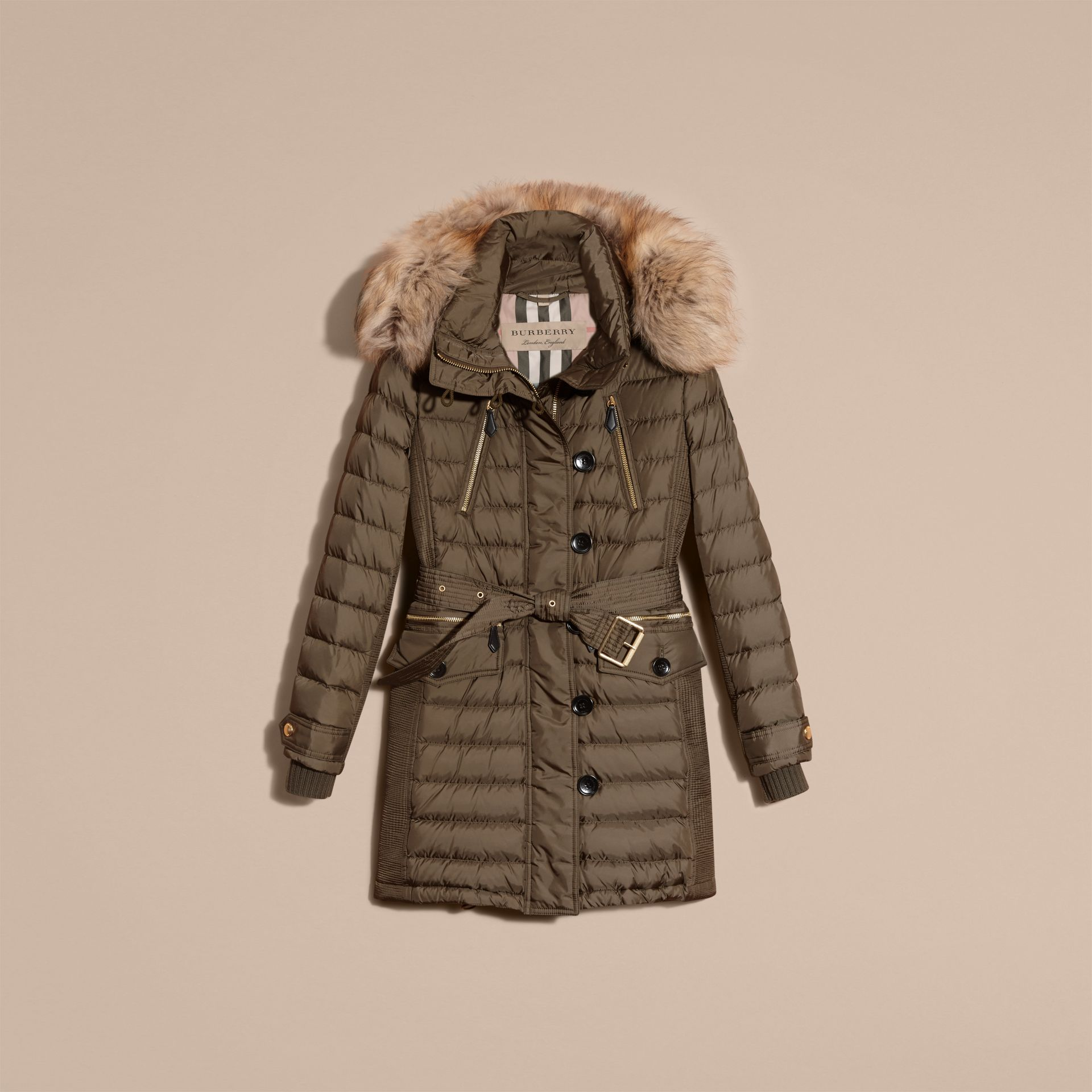 Mink grey Slim Fit Down-filled Parka with Fur Trim Mink Grey - gallery image 4
