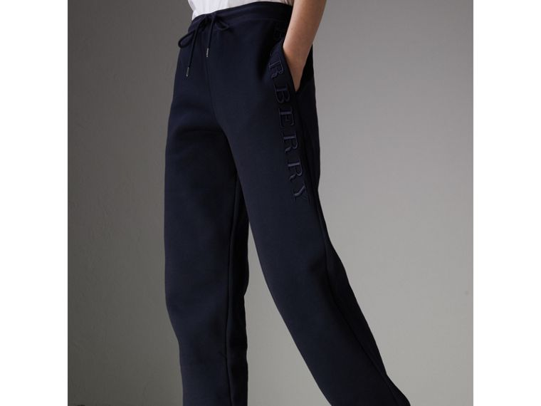 Embroidered Jersey Sweatpants in Navy - Women | Burberry United Kingdom - cell image 4