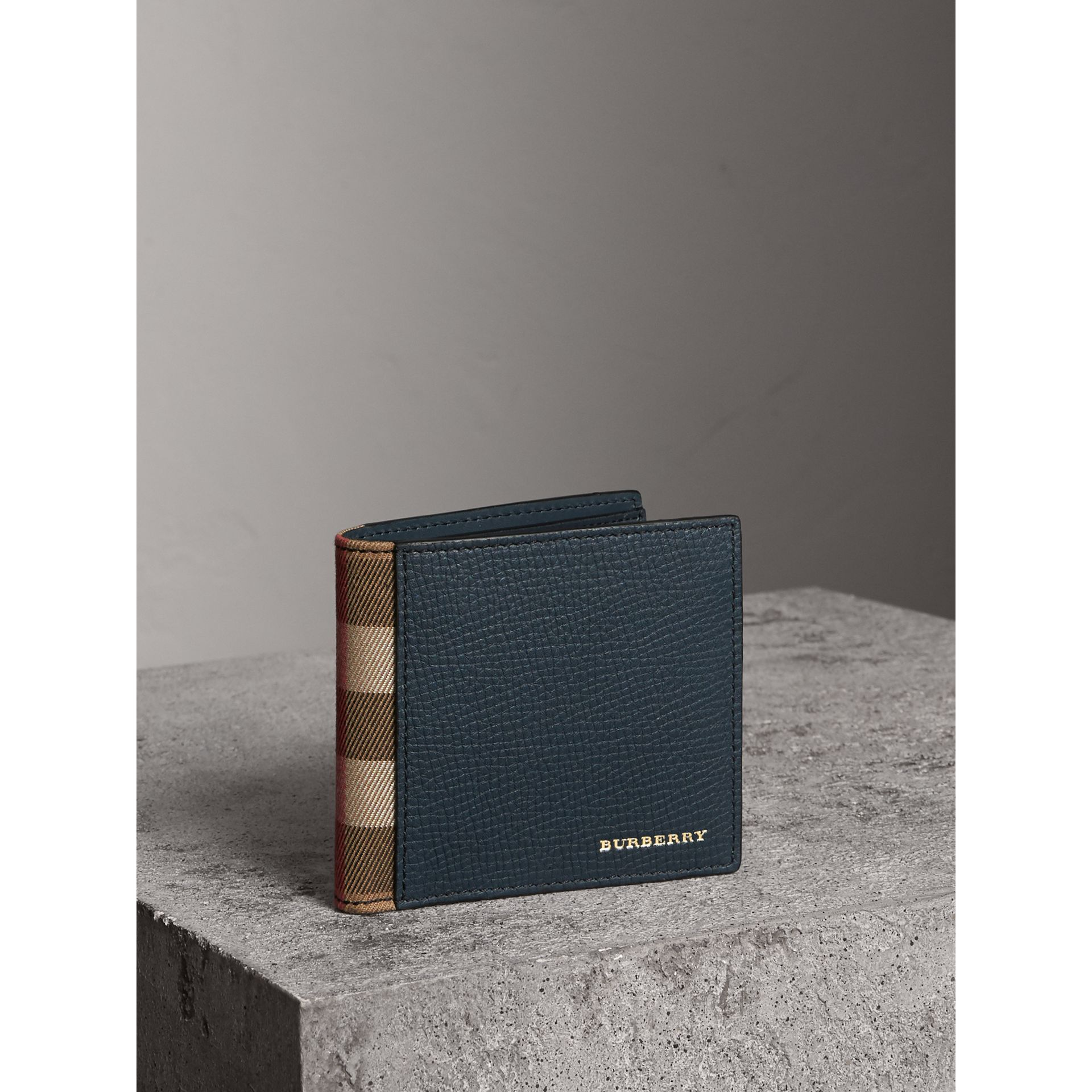 Leather and House Check International Bifold Wallet in Storm Blue | Burberry - gallery image 1
