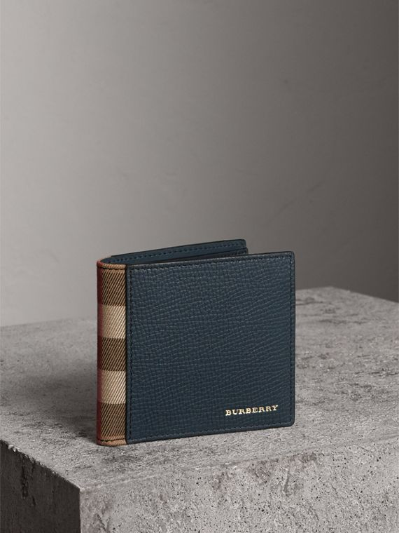 Leather and House Check International Bifold Wallet in Storm Blue