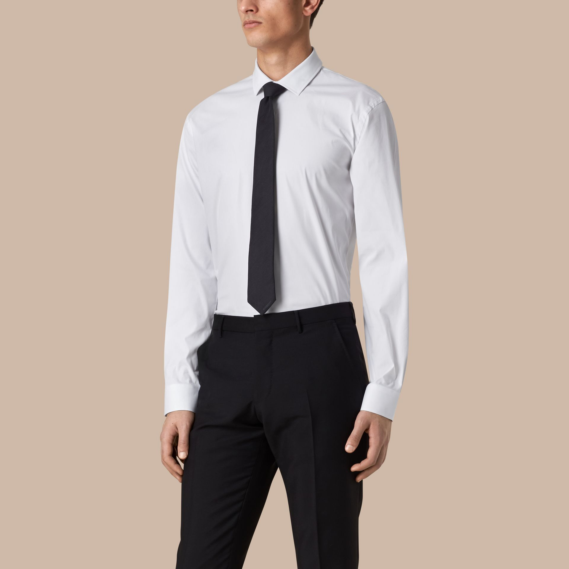 White Modern Fit Stretch Cotton Shirt White - gallery image 1
