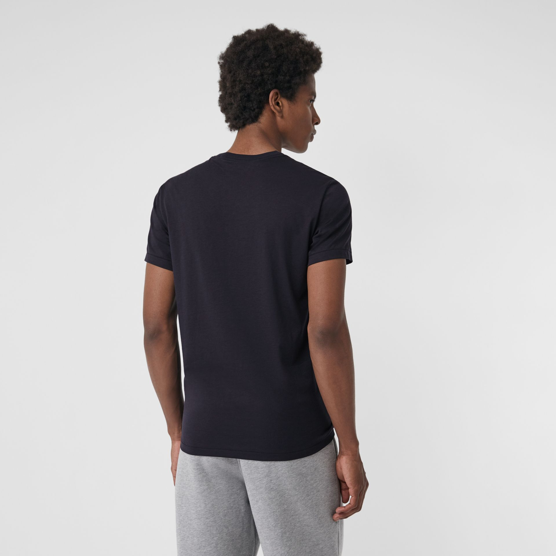 Cotton Jersey T-shirt in Navy - Men | Burberry - gallery image 2