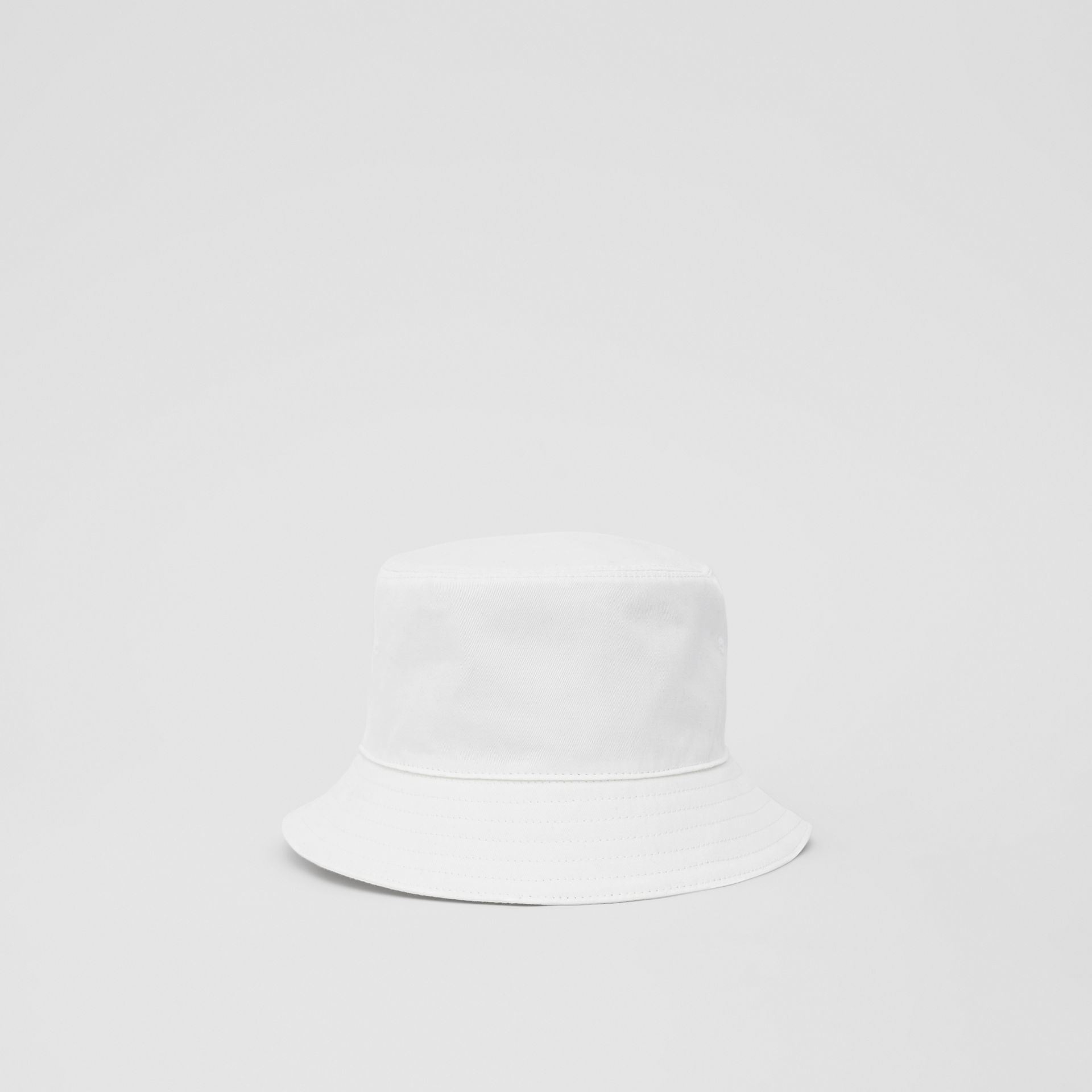 Logo Appliqué Cotton Bucket Hat in White | Burberry United States - gallery image 8