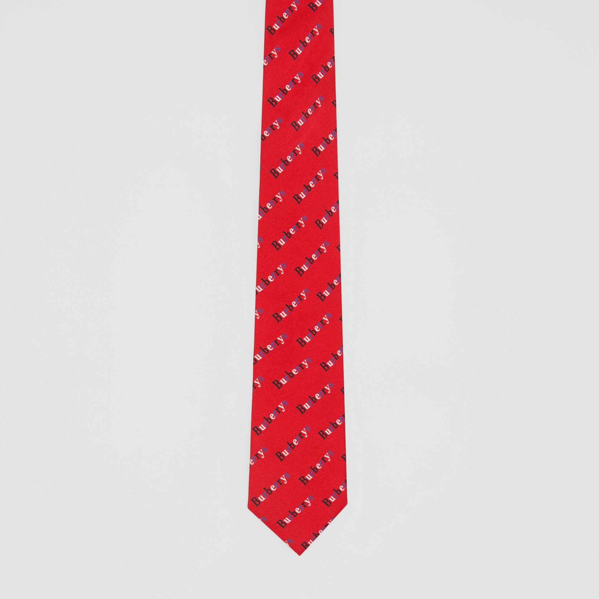 Modern Cut Archive Logo Print Silk Tie in Parade Red - Men | Burberry - gallery image 4