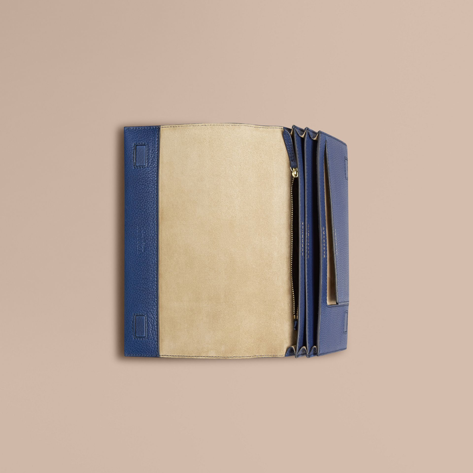 Grainy Leather Travel Wallet in Bright Navy - Men | Burberry Canada - gallery image 2