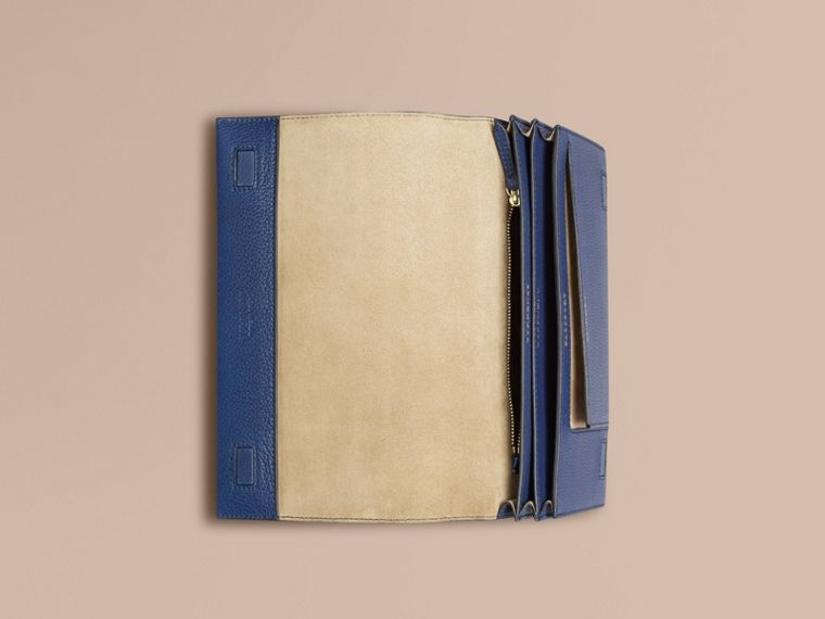 Grainy Leather Travel Wallet in Bright Navy - Men | Burberry Canada - cell image 1