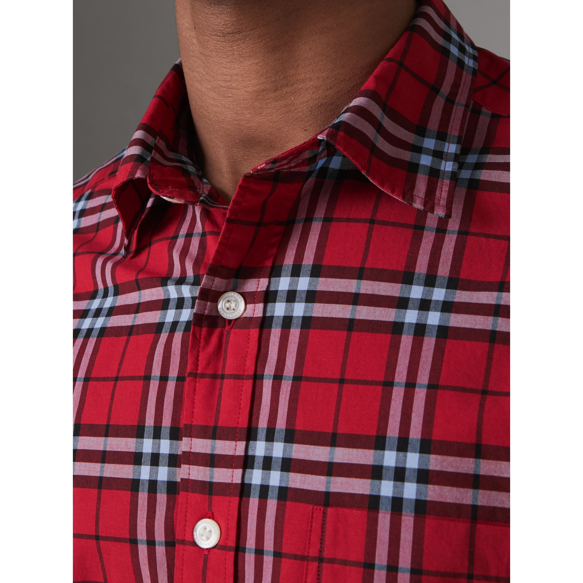 Check Cotton Shirt in Bright Red - Men | Burberry United Kingdom - gallery image 1