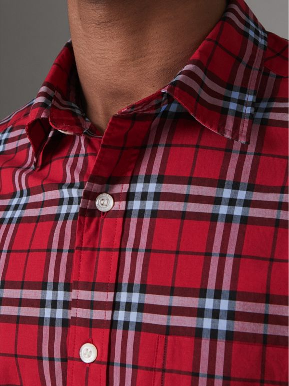 Check Cotton Shirt in Bright Red - Men | Burberry United Kingdom - cell image 1