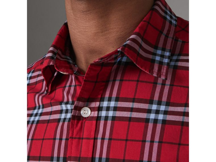 Check Cotton Shirt in Bright Red - Men | Burberry Canada - cell image 1