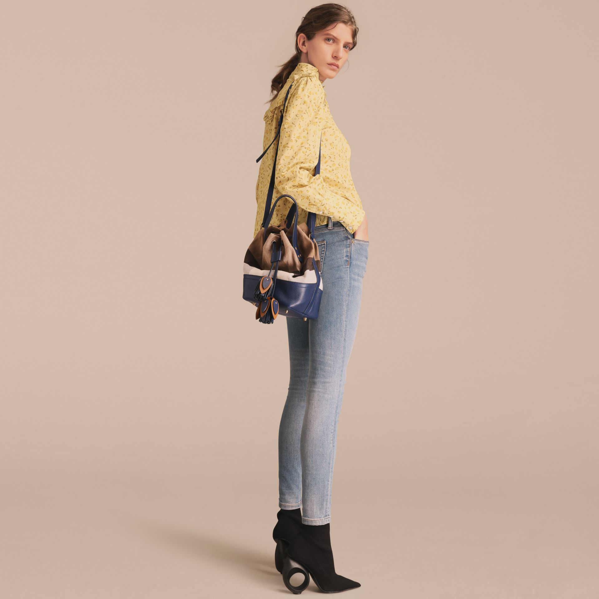 Small Canvas Check and Leather Bucket Bag in Brilliant Navy - Women | Burberry United States - gallery image 4