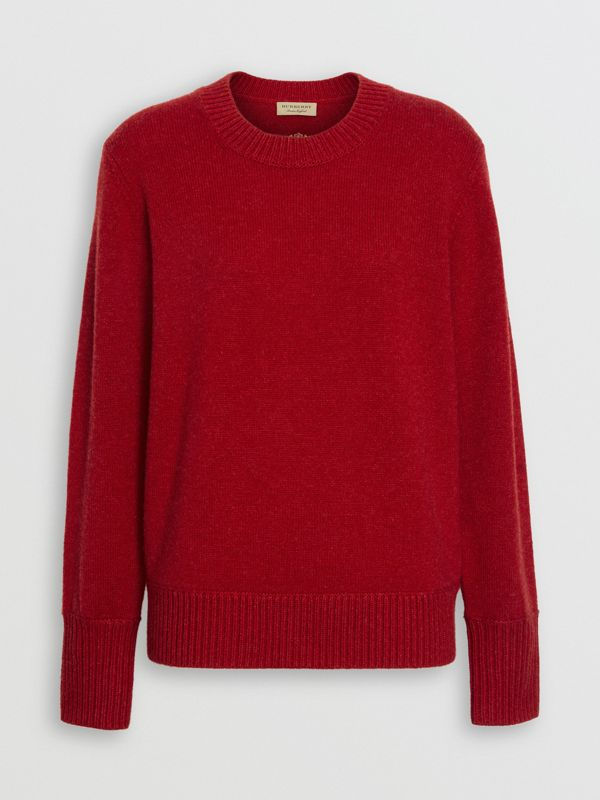 Embroidered Crest Cashmere Sweater in Coral Red - Women | Burberry United Kingdom - cell image 3