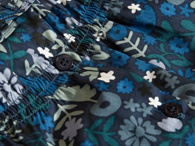 Hydrangea blue Floral Print Cotton Dress and Bloomers Hydrangea Blue - cell image 1