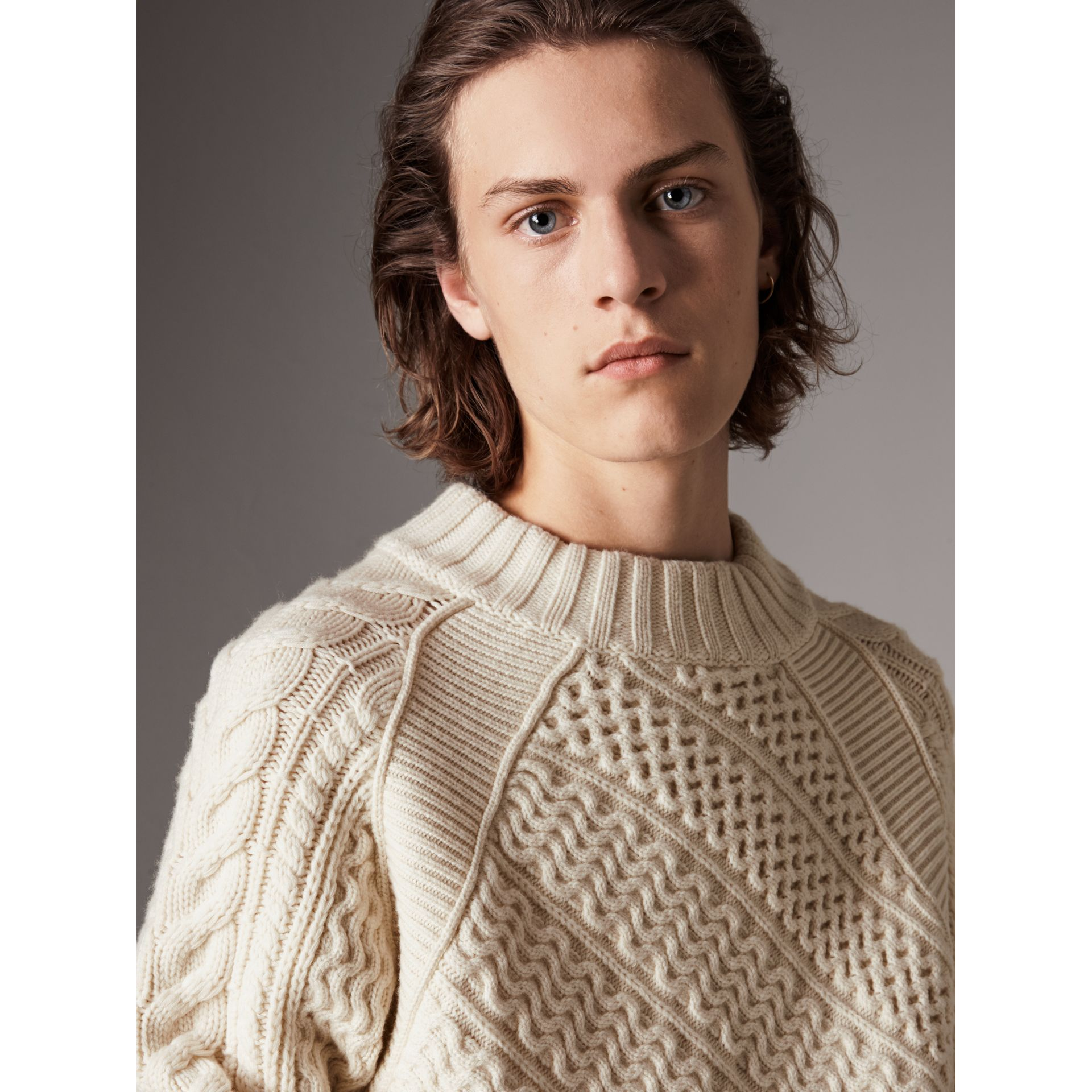 Wool Cashmere Aran Sweater in Natural White - Men | Burberry - gallery image 1