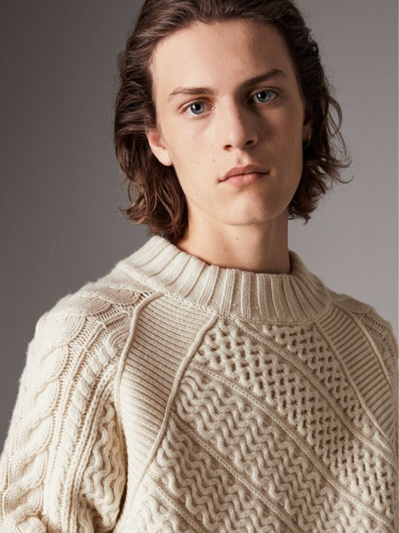 Wool Cashmere Aran Sweater in Natural White - Men | Burberry - cell image 1