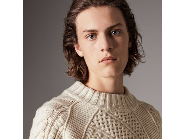 Wool Cashmere Aran Sweater in Natural White - Men | Burberry Singapore - cell image 1