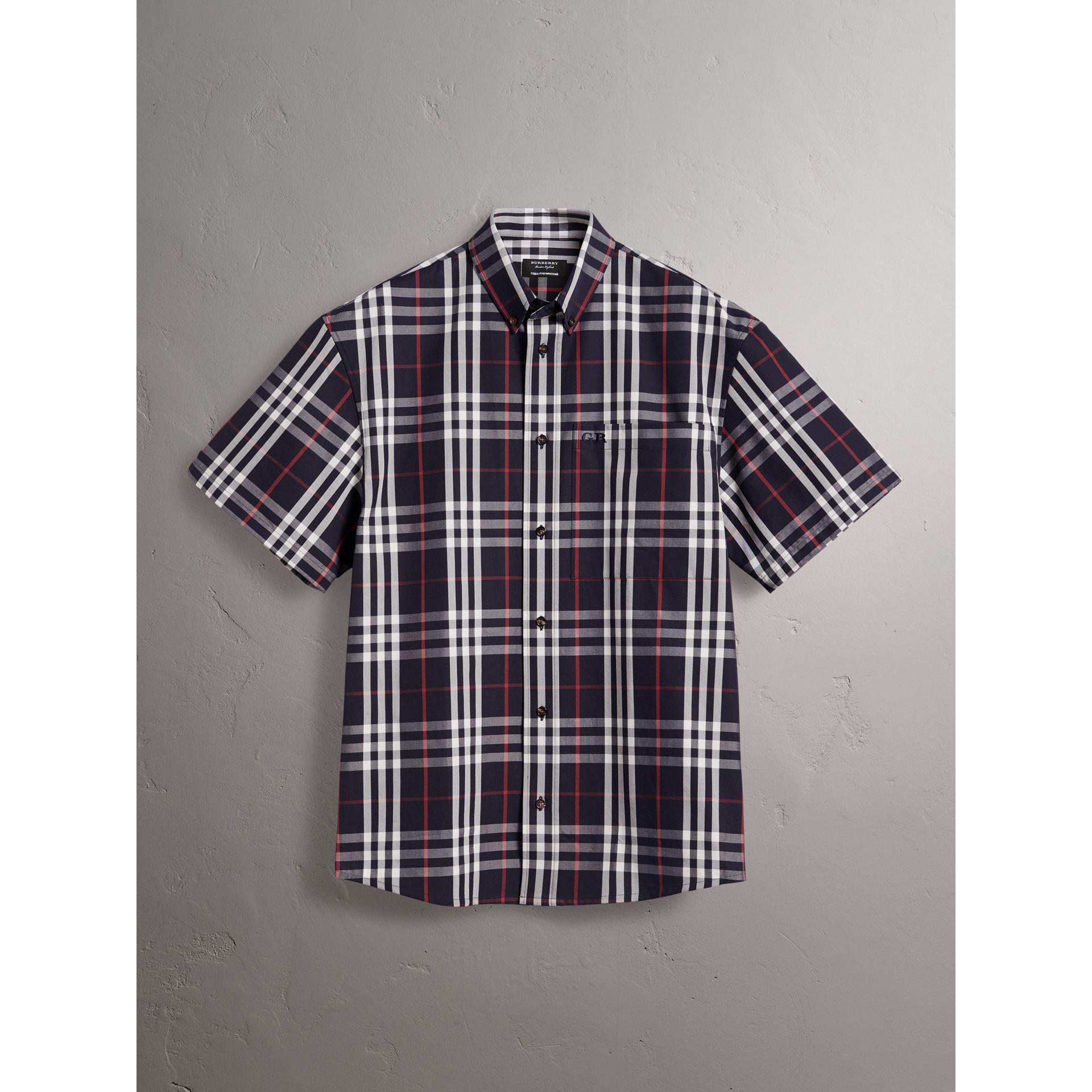 Gosha x Burberry Short-sleeve Check Shirt in Navy | Burberry Canada - gallery image 4