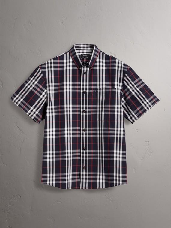 Gosha x Burberry Short-sleeve Check Shirt in Navy