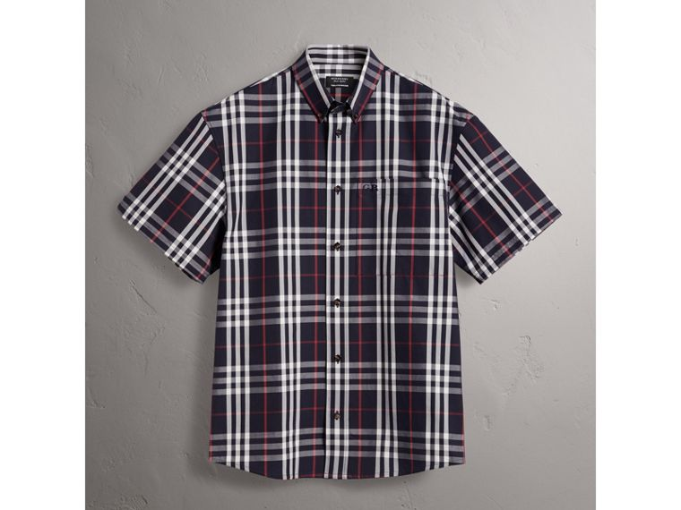 Gosha x Burberry Short-sleeve Check Shirt in Navy | Burberry United Kingdom - cell image 4